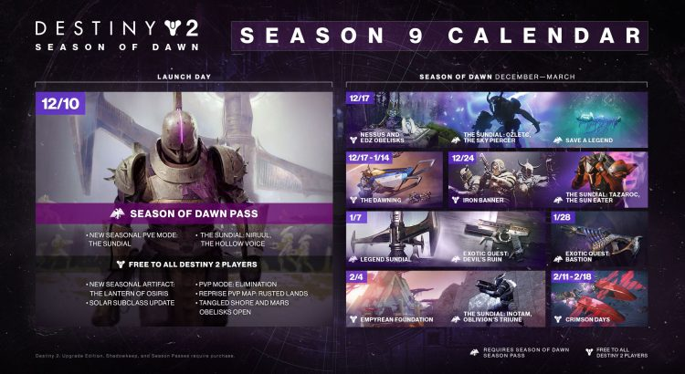 Destiny 2: Season of Dawn Calendar